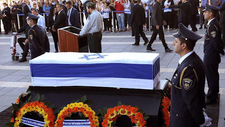 Kista vid Shimon Peres begravningsceremoni.