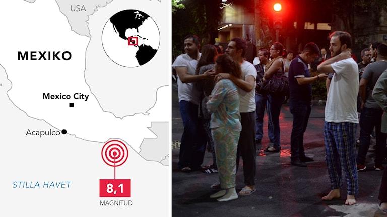 Kraftig jordbävning drabbade Mexiko. Kartbild och bild på gata med folk.