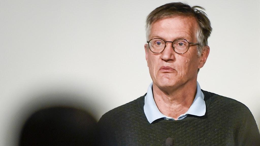 Anders Tegnell under en presskonferens.