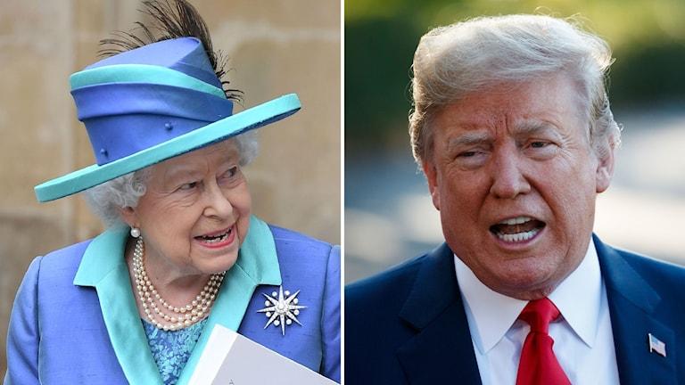 Drottning Elizabeth och Donald Trump.