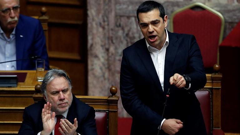 Greklands premiärminister Alexis Tsipras i parlamentet.