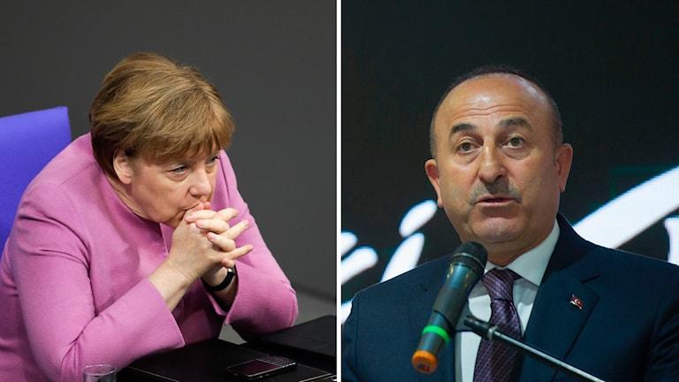 Tysklands förbundskansler Angela Merkel och Turkiets utrikesminister Mevlut Cavusoglu. Foto: Steffi Loos/Markus Schreiber/TT.
