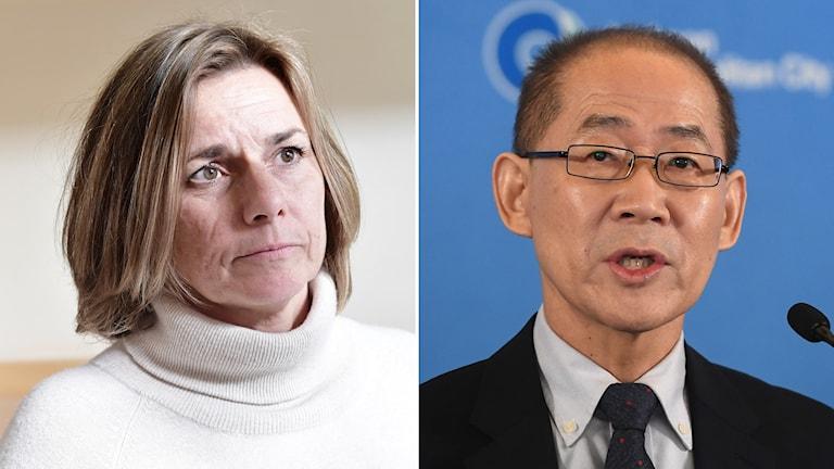Isabella Lövin (MP), just nu klimatminister i övergångsregeringen och IPCC:s ordförande Hoesung Lee.