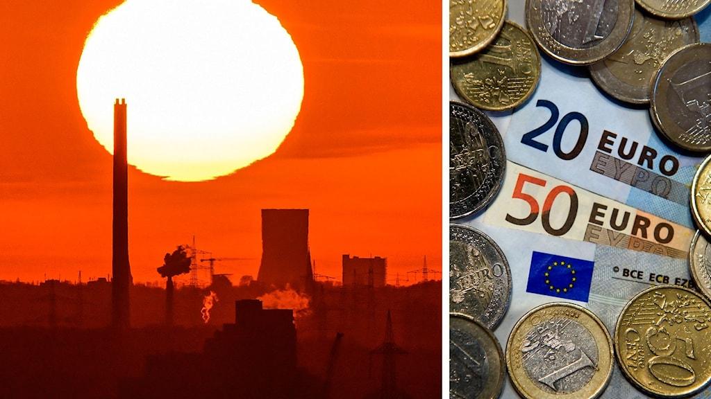 Delad bild på solnedgång i Ruhr området i Tyskland och Euro-sedlar och mynt.