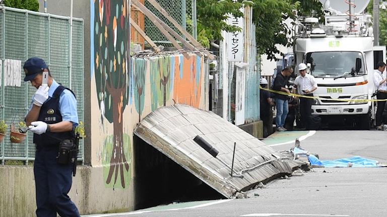 Efter jordbävningen. Foto: TT.
