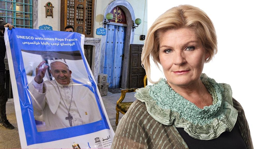 Till vänster en bild på påven i ett kulturcenter i Mosul och till höger Ekots korrespondent Cecilia Uddén.