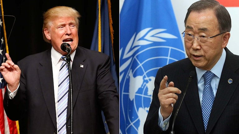 Den republikanske presidentkandidaten Donald Trump och FN:s generalsekreterare Ban Ki-Moon.