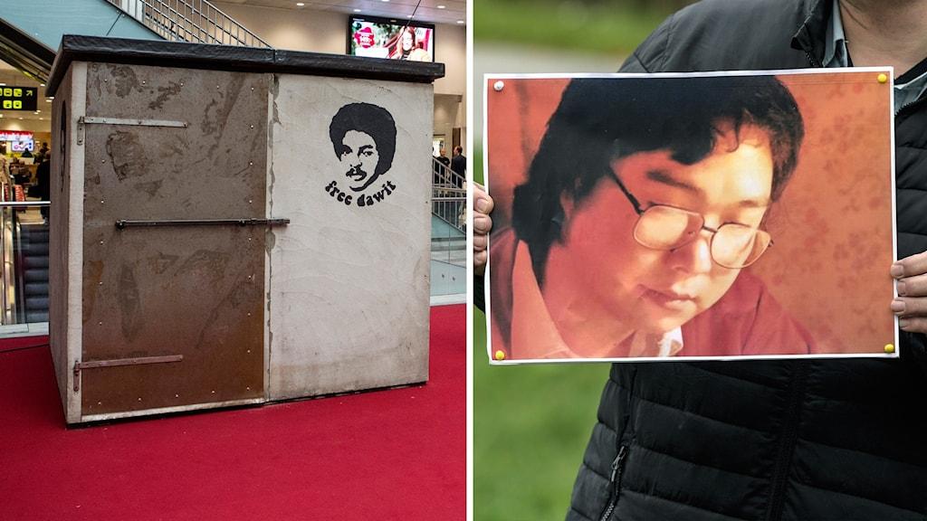 Till vänster: en kopia av Dawit Isaaks fängelsecell i Eritrea, Stockholms centralstation 2016. Till höger: en manifestation för Gui Minhai 2018.
