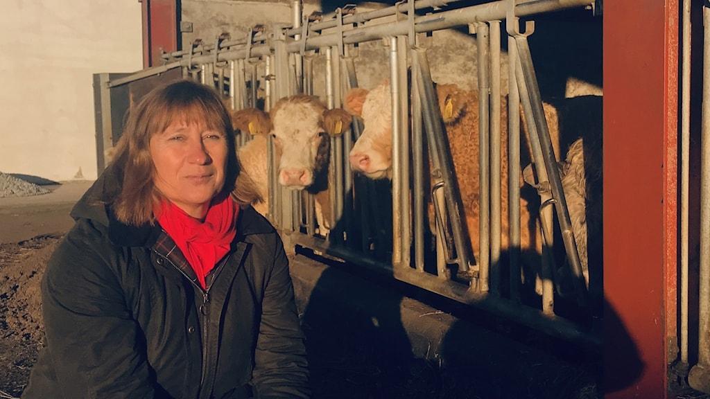 Camilla Hansson driver lantbruk utanför Lund. Foto: Petra Haupt/Sveriges Radio