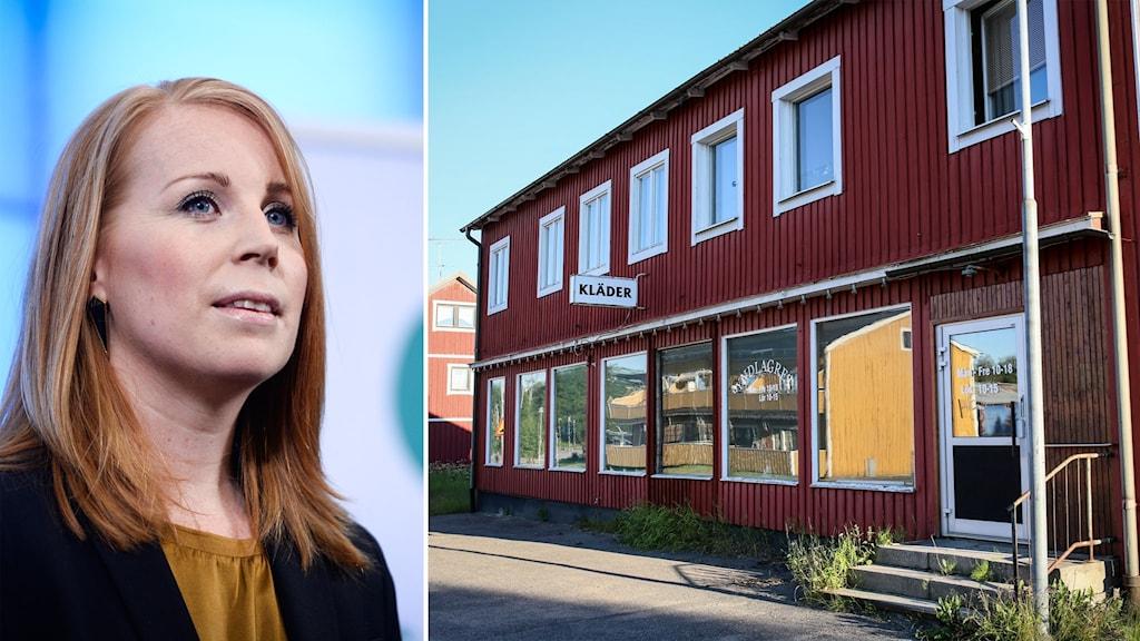 Delad bild: Annie Lööf och en övergiven butikslokal