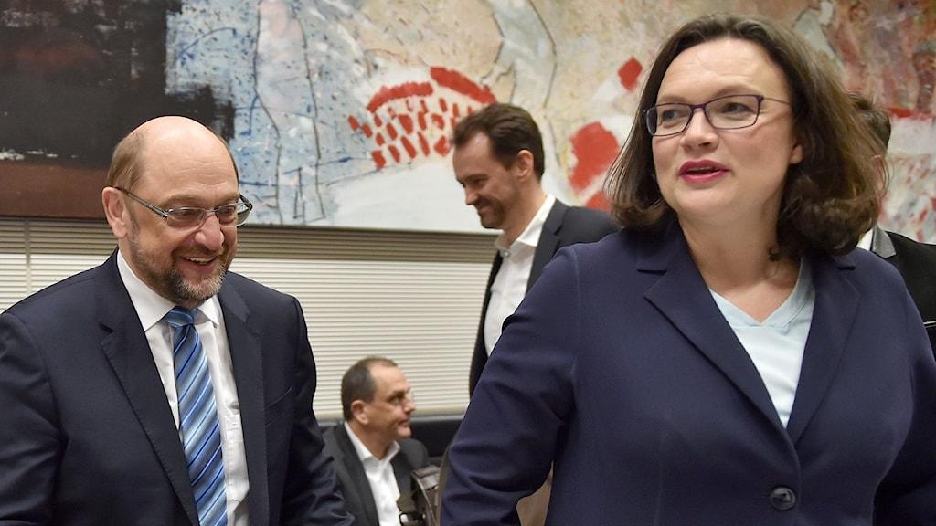Tyska SPD:s Andrea Nahles och Martin Schulz