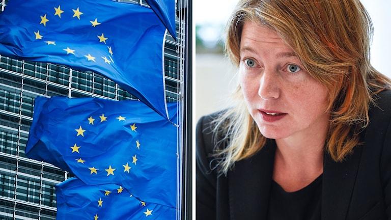 Malin Björk och EU-flaggor.
