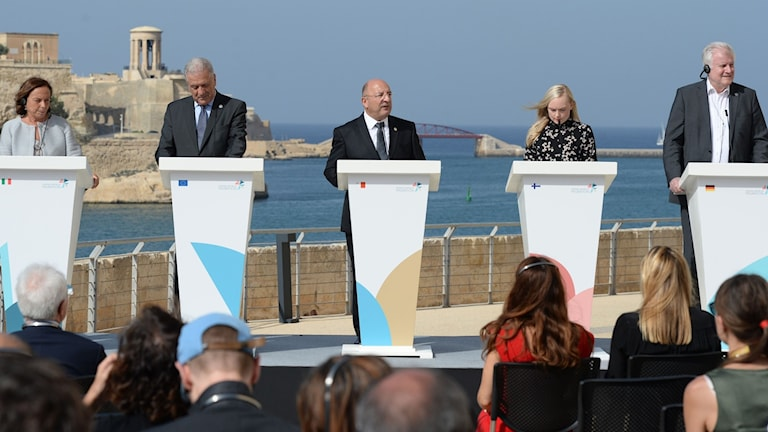 Italy's Interior Minister Luciana Lamorgese, European Commissioner for Migration, Dimitris Avramopoulos, Malta's Interior Minister Michael Farrugia, Finland�s Interior Minister, Maria Ohisalo and Germany's Interior Minister Horst Seehofer address a press conference.