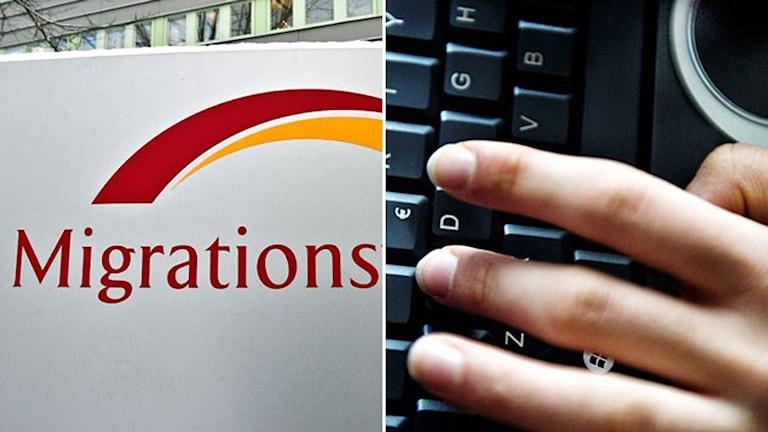 Ett montage av två bilder: En person har en hand på en dators tangentbord. Migrationsverkets logga på en skylt utanför en kontorsbyggnad.
