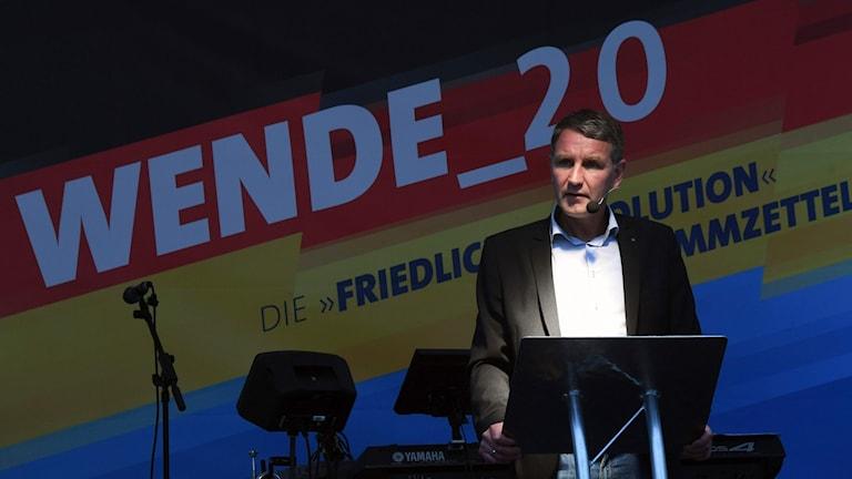 Björn Höcke, toppkandidaten för AFD i delstaten Thüringen, talar