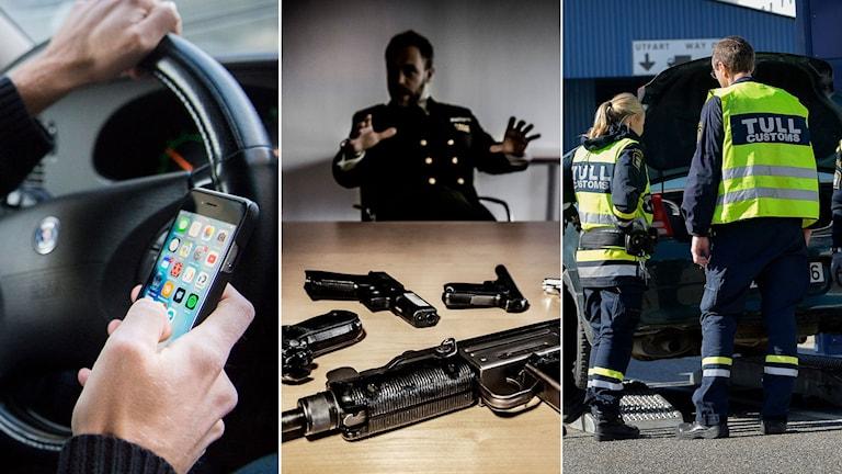 Man med mobiltelefon i sin hand. Tullverket visar upp flertalet beslagtagna vapen. Tullpersonal vid en bil.
