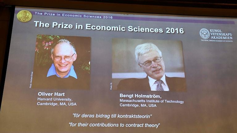 Oliver Hart och Bengt Holmström, årets pristagare i ekonomi
