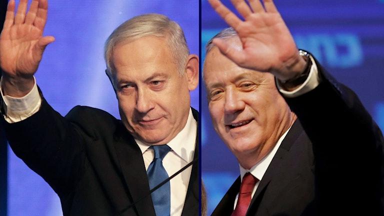 Benjamin Netanyahu och Benny Gantz.