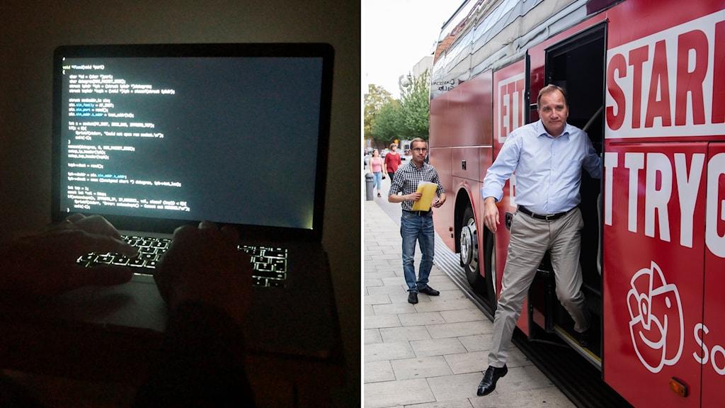 Dataskärm, och Stefan Löfven som kliver ur en valbuss
