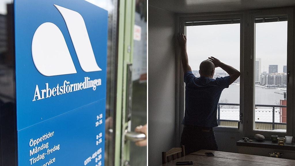 Bildmontage: Arbetsförmedlingen/Person tittar ut genom köksfönstret.
