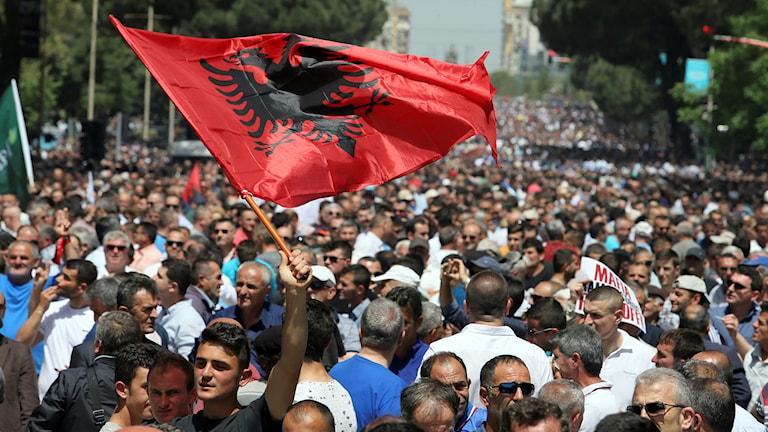 Demonstration med albansk flagga
