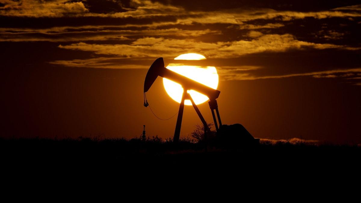 Oljepump i solnedgång.