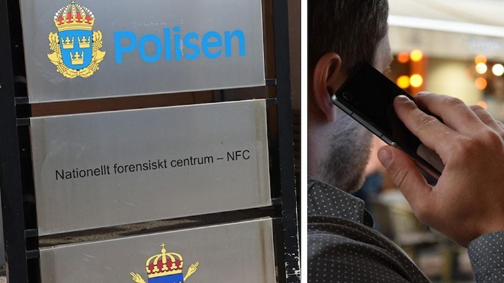NFC-skylt och man som pratar i telefon