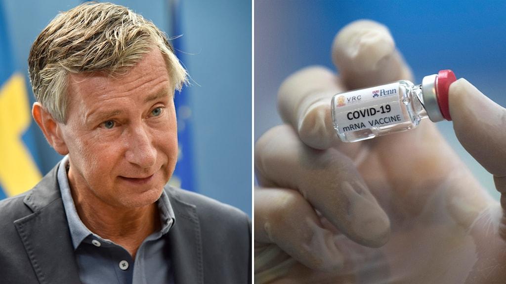 Delad bild: Man framför en svensk flagga, behandskad hand som håller en liten flaska med texten covid-19-vaccin.