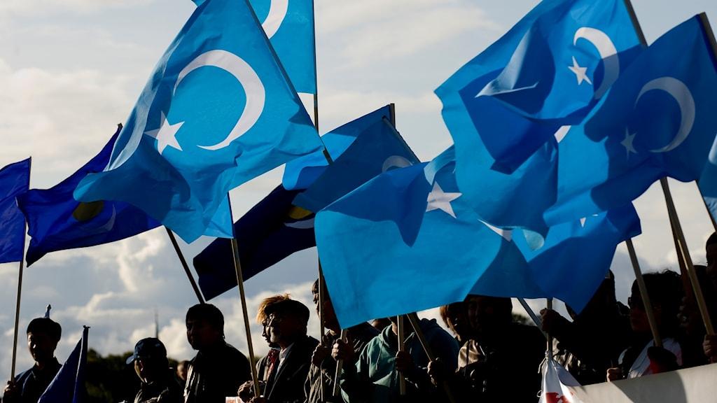Arkvibild: Uigurkommittén demonstrerar utanför Kinas ambassad