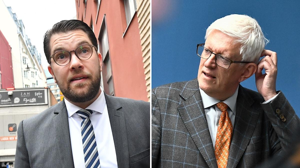 Jimmie Åkesson (SD) och Folkhälsomyndighetens generaldirektör Johan Carlson.