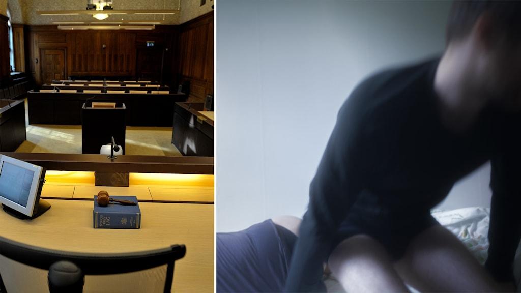 Delad bild: Tom rättssal, man som reser sig från en säng