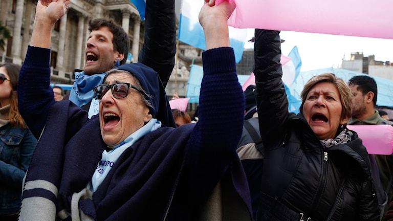 En nunna på en demonstration om ett lagförslag angående att legalisera abort fram till vecka 14. Onsdag 13 juni 2018.