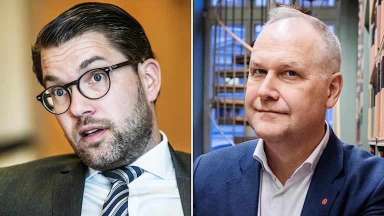 Jimmie Åkesson (SD) och Jonas Sjöstedt (V).