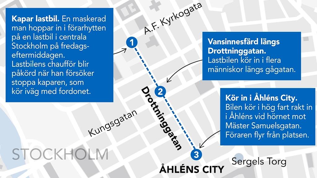 Attentatet i centrala Stockholm. Grafik: Liv Widell