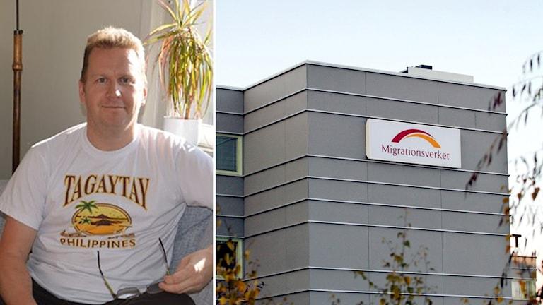 BIldmontage av Jens och en skylt till Migrationsverket.