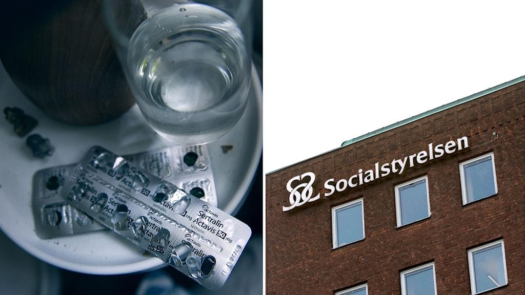 Delad bild: Medicin mot depression och en skylt till Socialstyrelsen.
