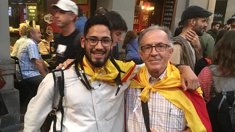 Marcel Freserius och Jesús Altabella firade Kataloniens självständighetsförklaring i Barcelona.