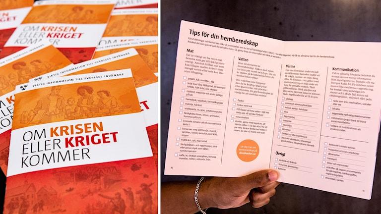 "MSB:s nya broschyr ""Om krisen eller kriget kommer""."