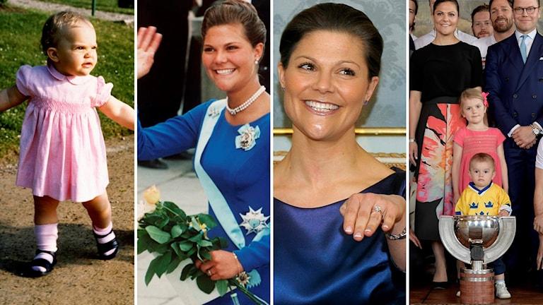 Collage med bilder på Kronprinsessan Victoria, som liten, vid 18-årsdagen, vid förlovningen och tillsammans med man och barn 2017.