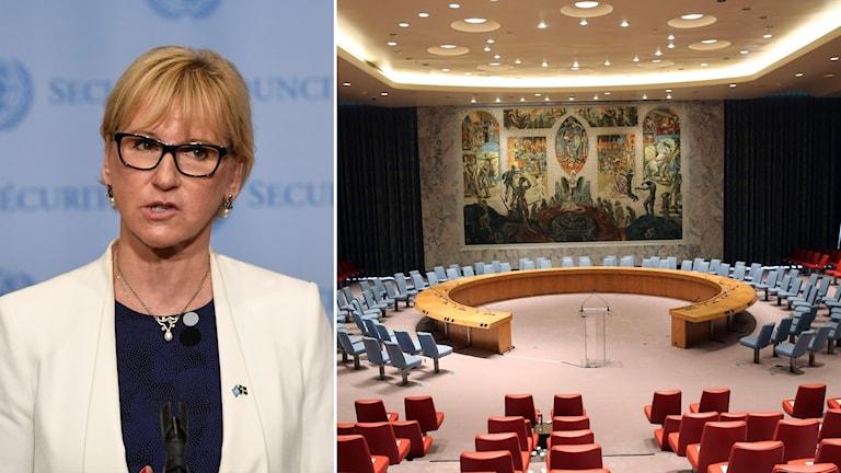Delad bild: Margot Wallström och rummet där säkerhetsrådet sammanträder.