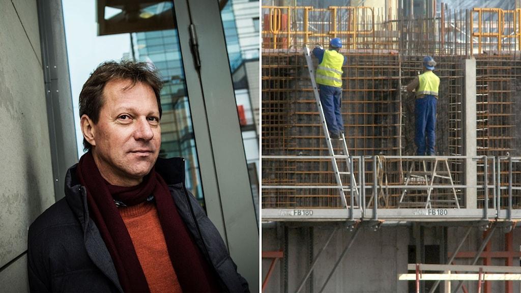 Lennart Weiss på fastighetsutvecklingsföretaget Veidekke och bild på byggarbetare på byggställning.