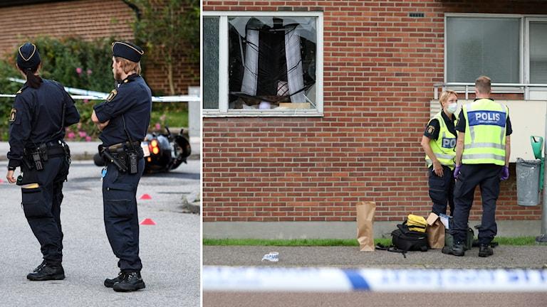 Polis och avspärrningar kring en motorcykel på platsen för skottlossningen i Fosie i Malmö. Till höger polisen på plats i  Biskopsgården i Göteborg.