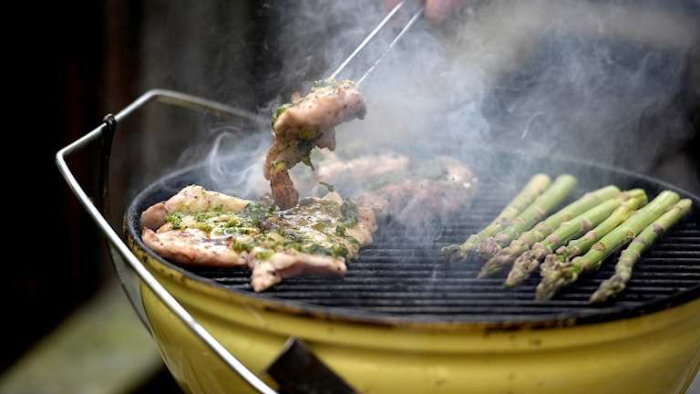 Kyckling och sparris på en grill.
