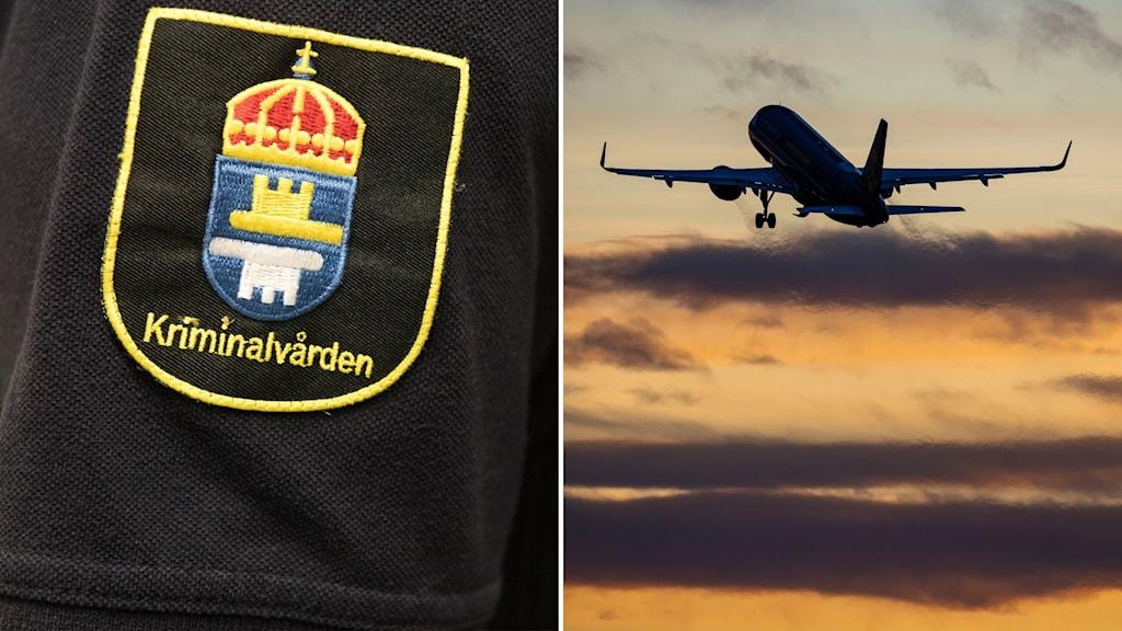 montage med kriminalvårdens logga och flygplan