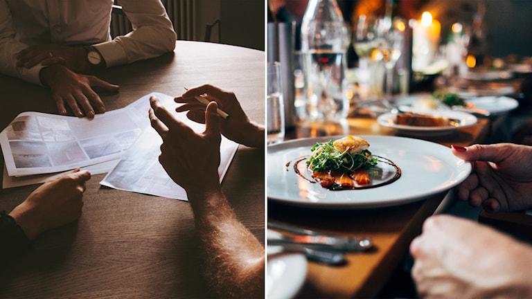 Delad bild: tre personer möts i en förhandling, restaurangmiljö.