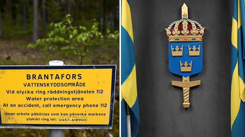 Montage av en skylt från Brantafors vattenskyddsområde och Försvarsmaktens logga och två svenska flaggor.