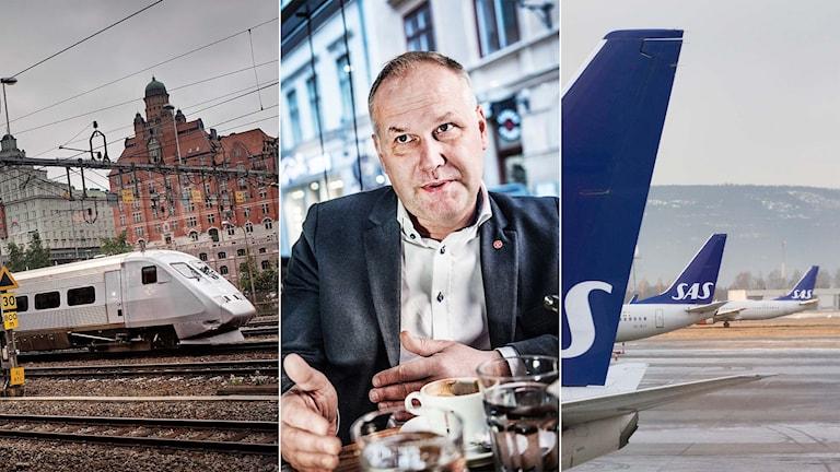 Tredelad bild: ett tåg, vänsterpartiledaren Jonas Sjöstedt, flyg på marken.