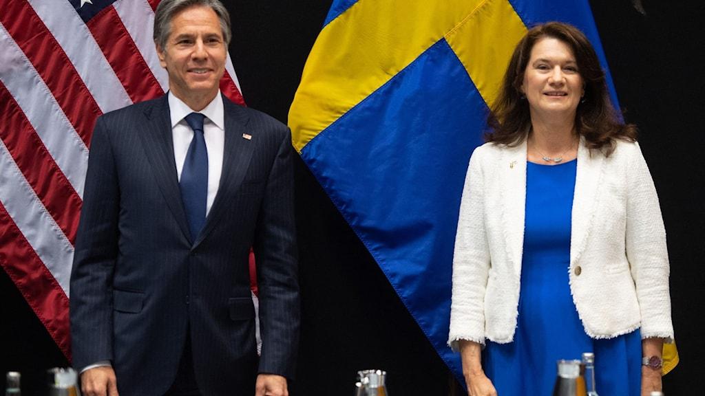 USA:s utrikesminister Antony Blinken och Sverige utrikesminister Ann Linde.
