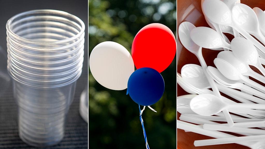 plast, plastmugg, ballonger, plastbestick