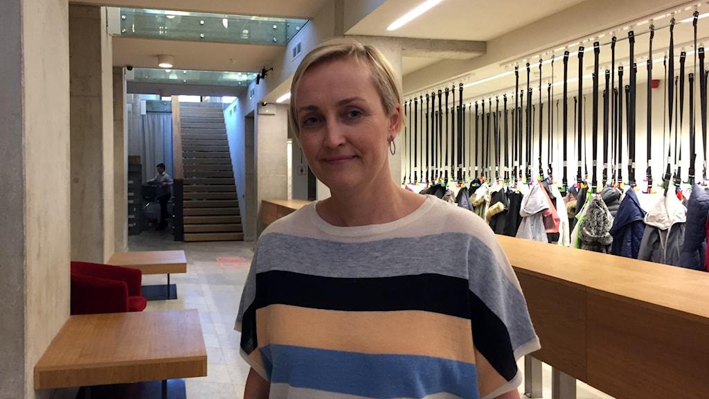 Kristina Kallas är rektor för Narva kolledž, det enda universitet i Estland som utbildar flerspråkiga lärare. Foto: Thella Johnson/Sveriges Radio.